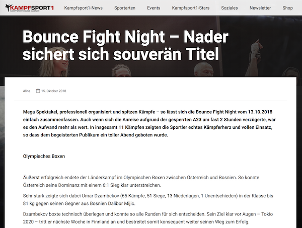 Kampfsport.at: Bounce Fight Night – Nader sichert sich souverän Titel