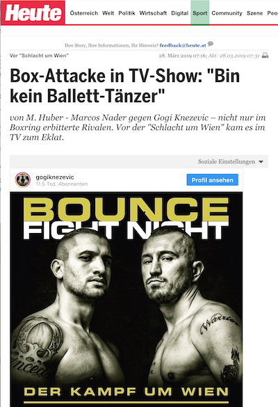 Heute 29. März: Box-Attacke in TV-Show