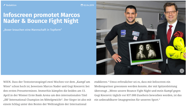 Infoscreen promotet Marcos Nader & Bounce Fight Night