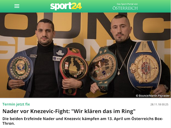 oe24.at: Nader vor Knezevic-Fight